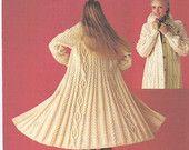 Ladies Full Length Winter Coat, Aran Wool Knitting Pattern, Ladies Aran Cardigan, Ladies Knitting, Knitting pattern only.
