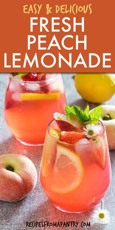 Peach Lemonade Recipes, Peach Drinks, Summer Drinks, Recipe For Lemonade, Refreshing Drinks, Potluck Recipes, Summer Recipes, Appetizer Recipes, Breakfast Recipes