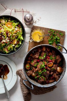 Prue Leith's venison casserole with barley, cabbage and apple salad is just one of her inspired ideas to feed a crowd for Christmas Eve, Boxing Day and beyond. Venison Casserole, Casserole Recipes, Prue Leith, Apple Salad Recipes, Xmas Food, Feeding A Crowd, Salad Ingredients, Cabbage, Stuffed Peppers