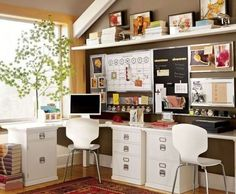 Eclectic home office in brown and white - Decoist