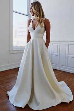 Elegant V Neck Ivory Wedding Dresses with Pockets Open Back Satin Wedding Gowns . - Elegant V Neck Ivory Wedding Dresses with Pockets Open Back Satin Wedding Gowns – wedding goals – Source by - Prom Dresses With Pockets, Wedding Dress With Pockets, V Neck Wedding Dress, Cute Wedding Dress, Dream Wedding Dresses, Bridal Dresses, Modest Wedding, Evening Dresses For Weddings, Simple Elegant Wedding Dress