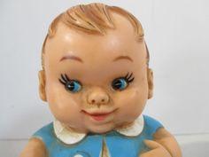 Squeaky Toy Baby Boy Blue Uneeda Roly Poly Vintage 1968 Squeaker Works #Uneeda