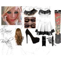 Maria Brink by aliceemma54 on Polyvore featuring Giuseppe Zanotti, Aurélie Bidermann, Prescriptives, Isadora, Bettie Page and Illamasqua