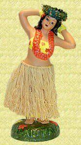 Porcelain Dashboard Hula Doll – Hula Girl Posing – Hawaii dashboard dolls – Perfect gift or souvenir