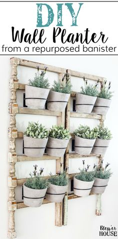 DIY Antique Banister Wall Planter | www.blesserhouse.com - A quick and simple tutorial for how to make a wall planter from a repurposed antique banister using artificial plants. Cute way to bring the outdoors in! #wallplanter #diyprojects