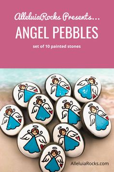 Set of 10 hand painted angel pebbles for Sunday School, First Communion, hospitals, nursing homes, and more! #angelpebbles #angelrocks #pocketangels #paintedrocks