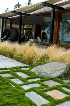 Pavers with grass