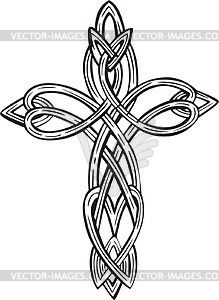 A Cross Formed Of Celtic Knots In Shades Of Red And Black Royalty ...