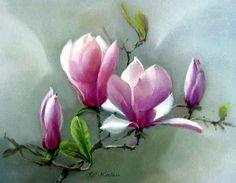 Paintings by Jill Kirstein Art Painting, Watercolor Flowers Paintings, Flower Art, Floral Art, Magnolia Paint, Painting, Watercolor Flowers, Blossoms Art, Peony Painting