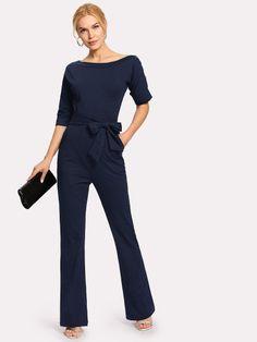 cd68417ed2d Shop Oblique Neckline Button Jumpsuit With Belt online. SHEIN offers  Oblique Neckline Button Jumpsuit With Belt   more to fit your fashionable  needs.