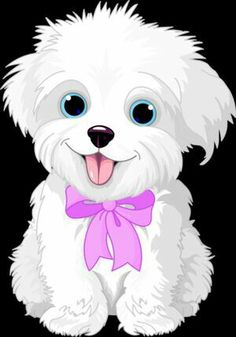 Clipart Cute Bichon Frise Or Maltese Puppy Dog Wearing A Pink Bow - Royalty Free Vector Illustration by Pushkin Cute White Puppies, Cute Dogs, Dog Clip Art, Dog Art, Cartoon Cartoon, Cartoon Images, Cartoon Dog Drawing, Cute Drawings, Animal Drawings