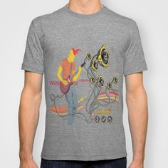 GuitarMan Sound Space T-shirt by maxvision Organic Cotton, Tees, Mens Tops, T Shirt, Stuff To Buy, Humor, Space, Medium, Random