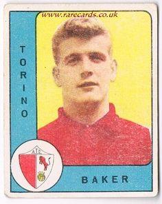 Joe Baker again, here on a Nannina football trade card from Italy, 1961. The Arsenal star in his Torino days. www.rarecards.co.uk
