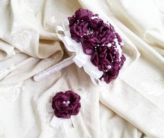 White blackberry purple silver Fabric Bouquet winter Wedding Bridal Bouquet with Pearls HANDMADE flowers brooches cotton lace satin handle - pinned by pin4etsy.com