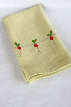 Linen Tea Towel Hand Appliqued Beets on by thehighfiberco on Etsy, $17.00