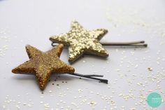 DIY Glitter Hair Pins would be so cute for a little girl