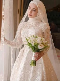 wedding dream You can find different rumors about the real history of the marriage dress; Hijabi Wedding, Wedding Hijab Styles, Muslimah Wedding Dress, Muslim Wedding Dresses, Muslim Brides, Dream Wedding Dresses, Bridal Dresses, Wedding Gowns, Muslim Couples