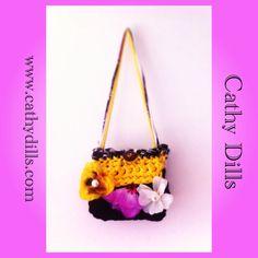 """Purple, yellow & black handbag for girls"" by Cathy Dills.  www.cathydills.com"