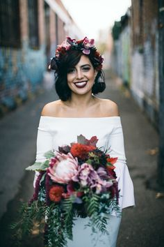 modern bride in off-shoulder wedding dress and berry-toned flower crown. Urban Wedding Inspiration for Jenny Buckland Hair and Make Up Flower Crown Wedding, Wedding Hair Flowers, Bridal Flowers, Flowers In Hair, Boho Wedding, Hair Wedding, Crown Flower, Bridal Flower Crowns, Off Shoulder Wedding Dress Bohemian