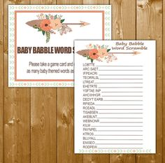 Tribal Baby Shower Games, Word Scramble Printable, Tribal Girl Shower Games Instant Download Printable