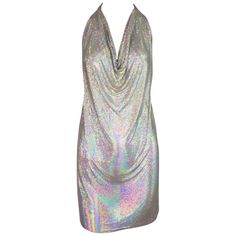 d3e54e15 1990's Fred Hayman Silver Rainbow Metal Chainmail Halter Micro Mini Dress  Belly Button Jewelry, Silver