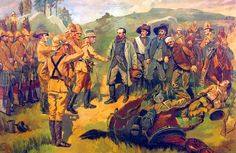 The surrender of General Cronje to Lord Roberts at Paardeberg on 27 February 1900