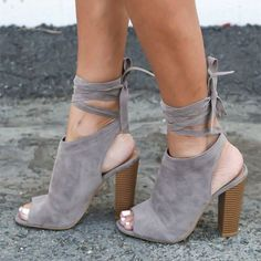 Women's Fall and Winter Fashion Boots Grey Suede Slingback Heels Chunky Heel Ankle Booties 2017 Fall Fashion Trends Back To School Outfits For College Plus Size Fashion For Women Fall Fashion Anke Booties for Work, Formal event   FSJ #ForWomens