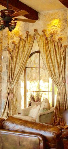 Tuscan design – Mediterranean Home Decor Curtains For Arched Windows, Hanging Curtains, Arched Window Treatments, Window Coverings, Tuscan Design, Tuscan Style, Beautiful Home Gardens, Beautiful Interiors, Tuscan Decorating