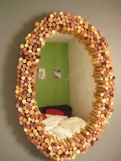cool wine cork mirror