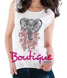 Blusa Alongada Elefante M  camiseta de luxo, camiseta feminina, camisetas, boho chic, fashion, blusa, regata, frases facebook http://www.boutiquedesign.com.br