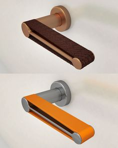 'Anima' is a light door handle that explores the tactile experience. The design consists of a body made out of brushed stainless steel supporting a leather strip.