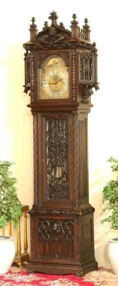 212: Gothic Oak Tiffany & Co. Grandfather Clock : Lot 212