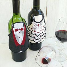 Bride and Groom Wine Bottle Aprons  Wine by OleanderMoon on Etsy
