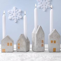 Four Concrete House Advent Candle Holders – Frohe Weihnachten House Candle Holder, Concrete Candle Holders, Diy Candle Holders, Advent Candles, Home Candles, Diy Candles, Concrete Houses, Concrete Crafts, Christmas Crafts
