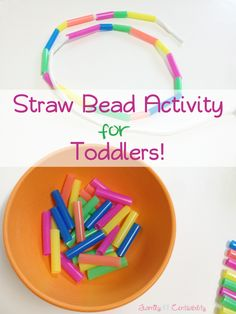 Easy straw bead activity for toddlers (and it is easy on the wallets!) FamilyCentsability.com