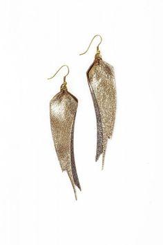 Zia Feather Leaf Earrings $24