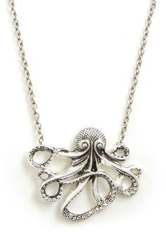 My Pet Octopus Necklace, this would look great with earrings I have Silver Rings Handmade, Nautical Fashion, Nautical Style, Modcloth, Jewelry Findings, Octopus, Antique Gold, Jewelery, Jewelry Box