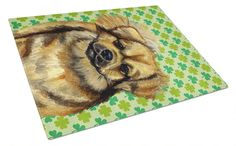 Tibetan Spaniel St. Patrick's Day Shamrock Portrait Glass Cutting Board Large