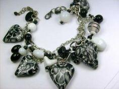 Black and White Hearts Beaded Handmade Layer Bracelet | Drunkenmimes - Jewelry on ArtFire