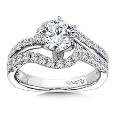 Luxury Collection Criss Cross Diamond Engagement Ring in 14K White Gold | 0.74ct. tw.