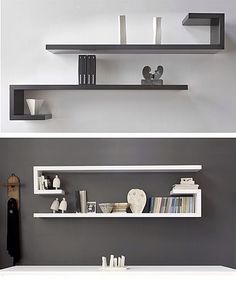Most Unique Minimalist Wall Rack Design Ideas To Enhance Your Room Beauty The walls will not interfere with your traffic at home, but on the side a bit to make the eyes become irritate - Wall Rack Design, Wall Shelves Design, Diy Wall Shelves, Wall Racks, Corner Shelves, Floating Shelves, Black Wall Shelves, Unique Shelves, Bookshelf Design
