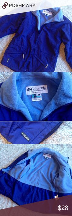 COLUMBIA Coat/Jacket Blue Fleece Zip Up Columbia core coat. Indigo blue/purple with some light blue fleece inside. One inside coat pocket, two outside coat pockets  Size small, and it is plenty long and not tight at all! Comfortable and lightweight! Warm but not heavy! Columbia Jackets & Coats