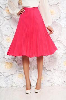 StarShinerS fuchsia elegant cloche skirt with medium waist voile fabric folded up, inside lining, voile fabric, folded up, side zip fastening