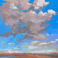 "Near Pueblo, CO, 12""x12"" #Colorado #Cloud #pueblo #landscapepainting #paletteknife"