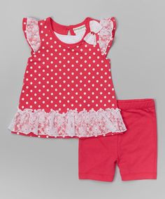 This Fuchsia Polka Dot Ruffle Tunic & Shorts - Infant, Toddler & Girls by Buster Brown is perfect! #zulilyfinds