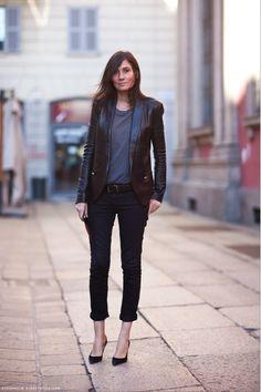 leather blazer + dark skinny jeans rolled at the ankle... Emmanuelle Alt.