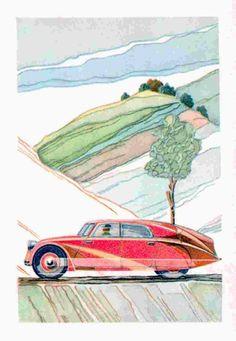 frenchcurious — Tatra Art 1935 -1955 - Atomic Samba. Samba, Illustrations Posters, Transport Illustrations, Car Illustration, Cars And Motorcycles, Vintage Cars, Beach Mat, Outdoor Blanket, Art Deco
