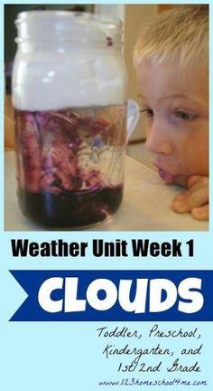 Weather Unit Week #1 - CLOUDS. Hands on homeschool science fun for toddler, preschool, kindergarten, and 1st & 2nd grade. by bernadette
