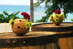 calabash bowl with florals on rum barrel bar. Barrel Bar, Rustic Chic, Wedding Centerpieces, Tablescapes, Rum, Florals, Vase, Home Decor, Floral
