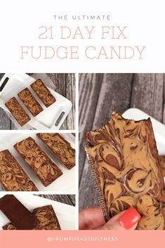 Just starting 21 Day Fix and have a killer sweet tooth? Whip up these chocolate fudge candy bars! 21 Day Fix Desserts, No Sugar Desserts, 21 Day Fix Snacks, Chocolate Desserts, Healthy Desserts, Easy Desserts, Chocolate Fudge, Healthy Recipes, Healthy Habits